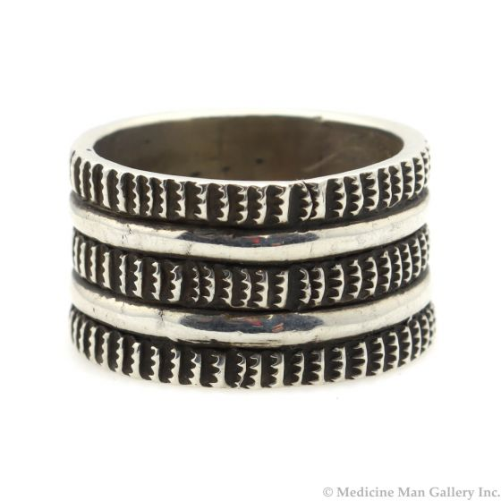 Chris Billie - Navajo Contemporary Sterling Silver Ring, size 11.5 (J12175)
