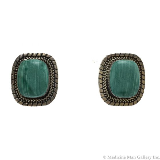 """Mexican Silver and Green Stone Post Earrings c. 1980s, 1"""" x 0.875"""" (J12282)"""