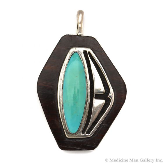 """Non-Native Turquoise, Ironwood, and Silver Pendant c. 1980s, 2.75"""" x 1.75"""" (J12371)1"""