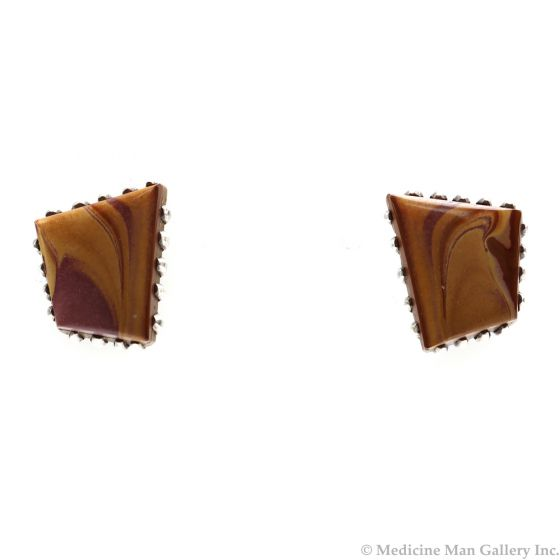 "Deborah Silversmith (b. 1957) - White Hogan Navajo Mookaite Jasper and Silver Post Earrings, 0.75"" x 0.625"" (J12382)"