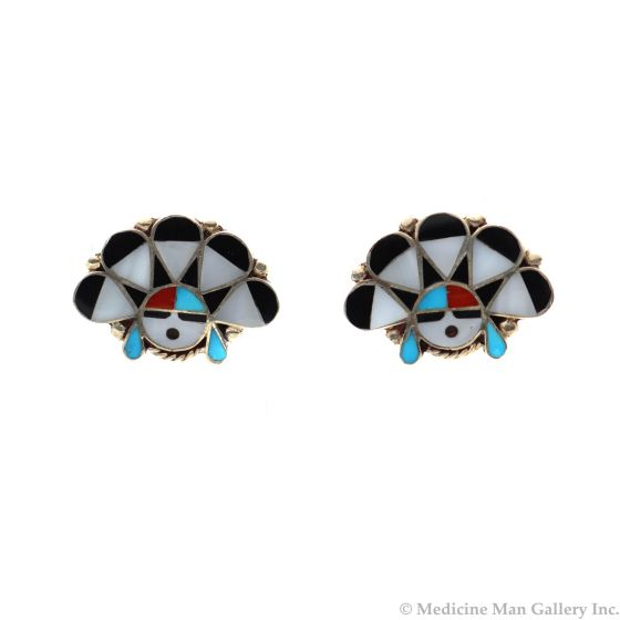 """Zuni Multi-Stone Channel Inlay and Silver Sunface Kachina Post Earrings c. 1960s, 0.875"""" x 1.125"""" (J12419)"""