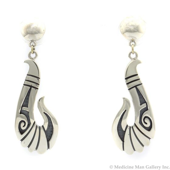 "Roy Talahaftewa - Hopi Contemporary Sterling Silver Overlay Post Earrings, 2.125"" x 0.75"" (J12429)"