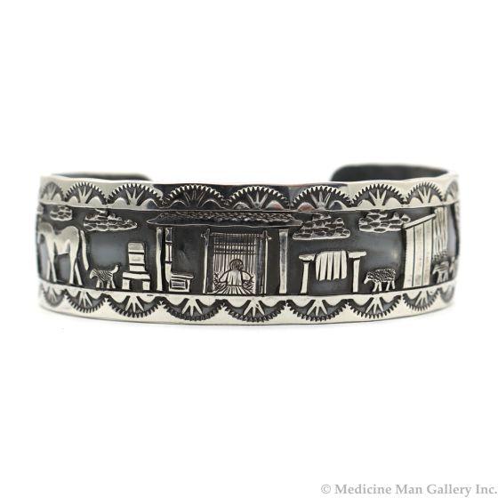Roland Begay - Navajo Contemporary Sterling Silver Storyteller Bracelet, size 6.75 (J12453)