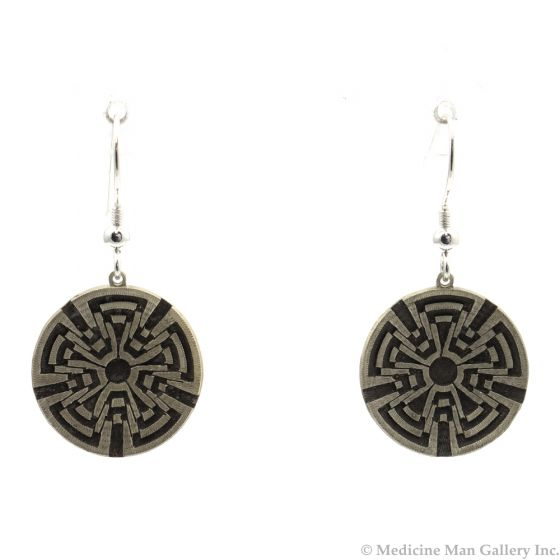 """Roland Begay - Navajo Contemporary Sterling Silver Overlay Squash Blossom Hook Earrings with Reversed Design, 1.5"""" x 0.75"""" (J12467)"""