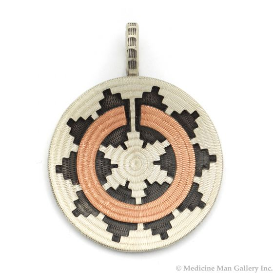 """Roland Begay - Navajo Contemporary Sterling Silver and Copper Overlay Wedding Basket Pendant, 2"""" x 1.5"""" (J12502)"""
