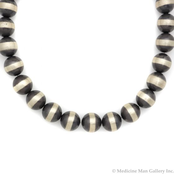 """Contemporary Two-Toned Silver Beaded Necklace, 18"""" length (J12685)"""