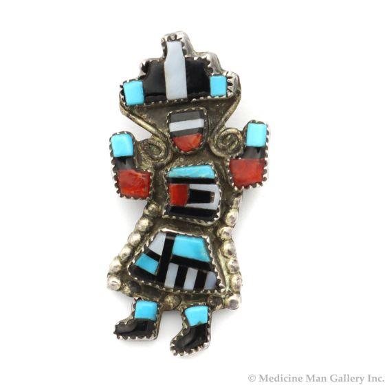 "Gillerimo Natachu - Zuni Multi-Stone Inlay and Silver Rainbow God Pin c. 1950-60s, 1.375"" x 0.75"" (J12737)"