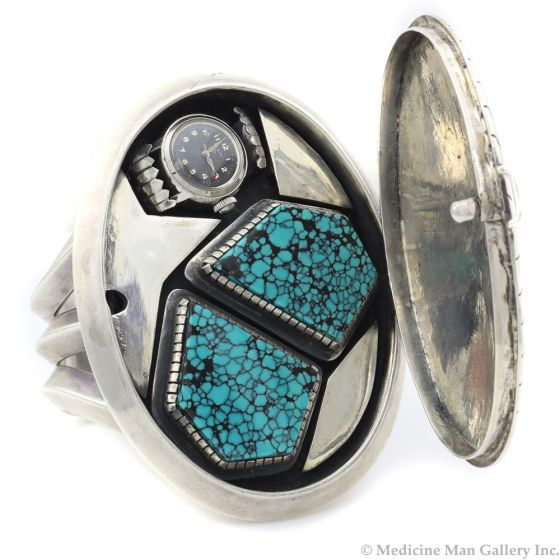 Bobby Lujan - Contemporary Taos Silver and Turquoise Bracelet Hinged Lid and Watch Band, size 6.75 (J12791-CO) 1