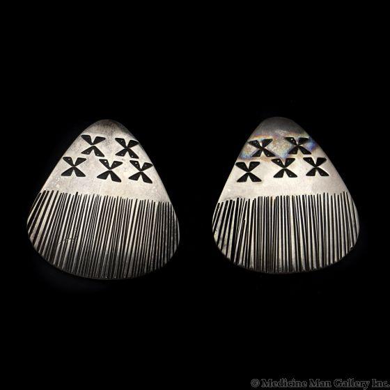 "Natasha Peshlakai - Navajo Contemporary Silver Post Earrings, 1.25"" x 1.125"" (J12893)"