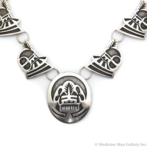 """Fermin Hawee - Hopi Contemporary Silver Overlay Necklace with Kachina Design, 23"""" length (J12923)"""