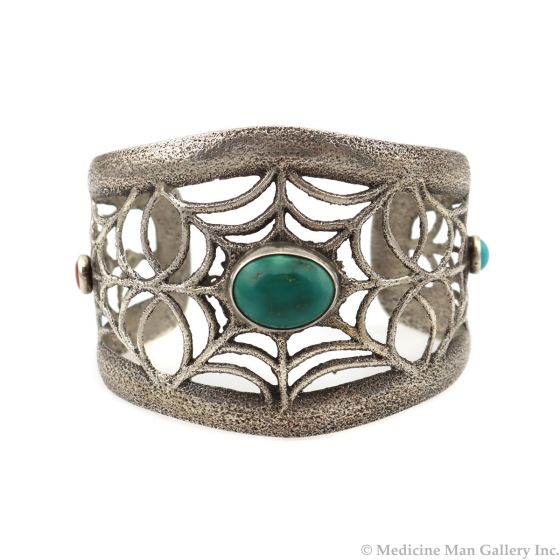 Joel Pajarito - Turquoise and Silver Sandcast Bracelet with Spider Web Design, c. 2000s (J12932)