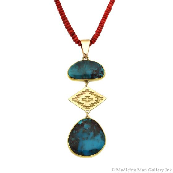 "Mark Sublette Collection - Featuring Sam Patania - Bisbee Turquoise, Spiny Oyster, 22K Gold, 18K Gold, and Sterling Silver Necklace and Pendant, 3.5"" x 1.125"" pendant, 24"" long (J12959)"