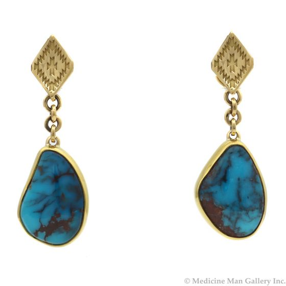 """Mark Sublette Collection - Featuring Sam Patania - Bisbee Turquoise, 22K Gold, 18K Gold, and Sterling Silver Post Earrings, 1.75"""" x 0.625"""" (J12962)"""