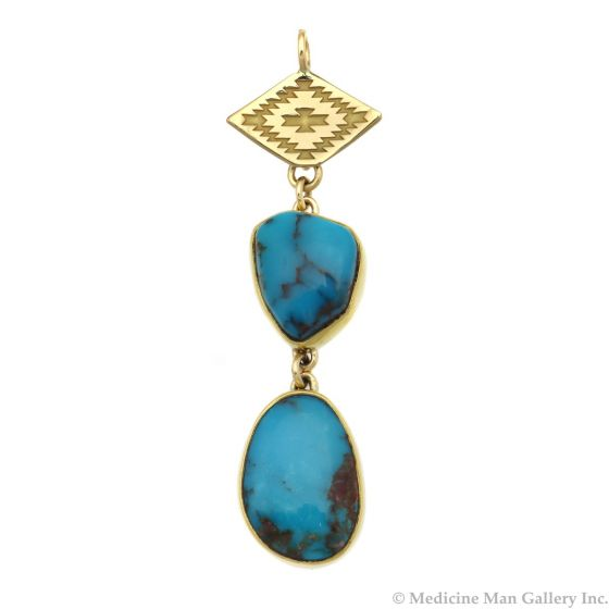 """Mark Sublette Collection - Featuring Sam Patania - Bisbee Turquoise, 22K Gold, 18K Gold, and Sterling Silver Pendant, 2.5"""" x 0.625"""" (J12963)"""