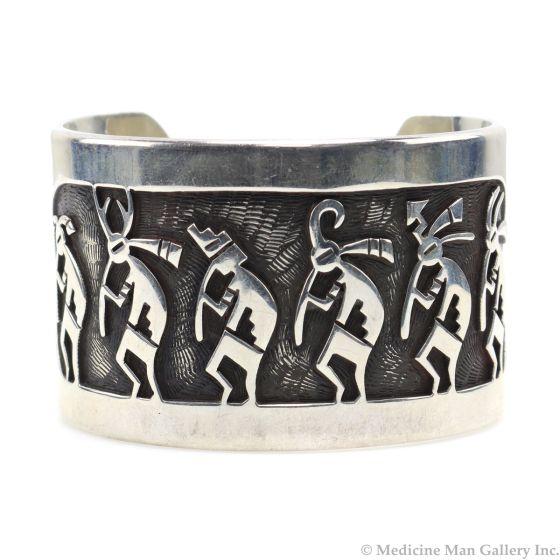Beauford Dawahoya (1938-1998) - Hopi Sterling Silver Overlay Bracelet with Kachina Design c. 1980s, size 6 (J12987)