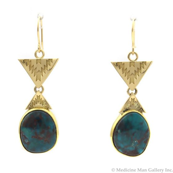 """Mark Sublette Collection - Featuring Sam Patania - Bisbee Turquoise, 22K Gold, 18K Gold, and Sterling Silver Earrings, 1.75"""" x 0.75"""" (J12992)"""