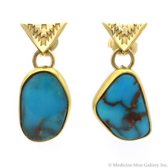 """Mark Sublette Collection - Featuring Sam Patania - Bisbee Turquoise, 22K Gold, 18K Gold, and Sterling Silver Post Earrings, 1.25"""" x 0.5"""" (J12993)"""