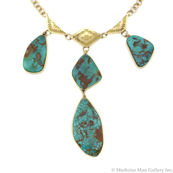 """Mark Sublette Collection - Featuring Sam Patania - Pilot Mountain Turquoise, 18K Gold, and Sterling Silver Necklace with Handmade Chain, 3.75"""" x 1"""" pendant, 18"""" long (J13000)"""