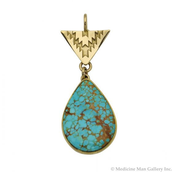 """Mark Sublette Collection - Featuring Sam Patania - Number 8 Turquoise, 22K Gold, and Sterling Silver Pendant, 1.875"""" x 0.75"""" (J13001)"""