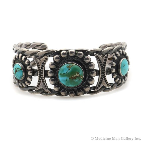 Navajo Turquoise and Silver Bracelet with Stamped Arrow and Rope Design c. 1950s, size 6.5 (J13017)