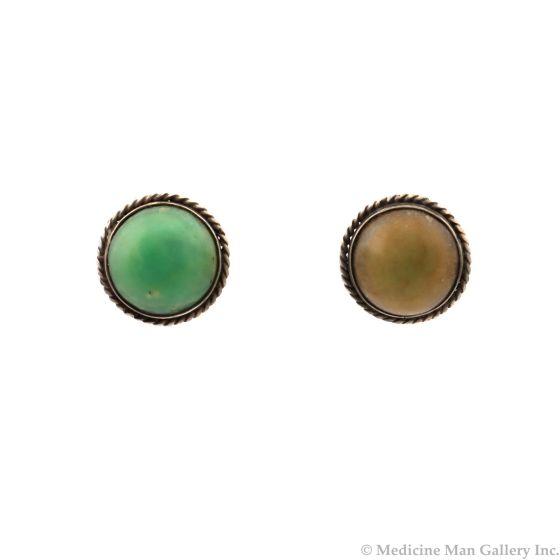 "Navajo Serpentine and Silver Post Earrings c. 1950s, 0.75"" (J13020)"