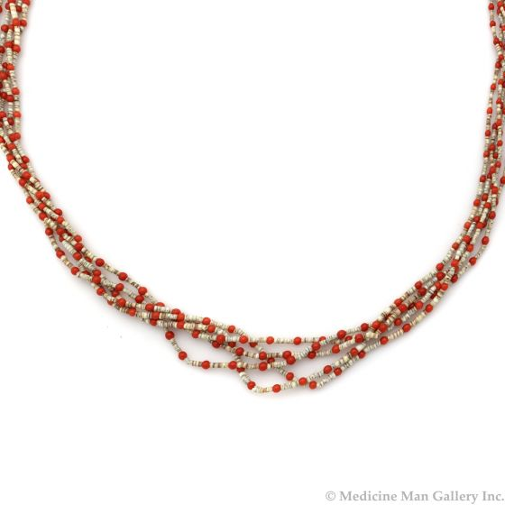 """Navajo 5-Strand Coral and Heishi Necklace c. 1960s, 28"""" length (J13070)"""