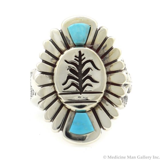 Roy Talahaftewa - Hopi Contemporary Morenci Turquoise and Sterling Silver Sandcast Ring with Cornstalk Design, size 9 (J13161)