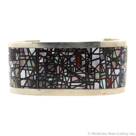 Colin A. Coonsis (b. 1981) - Zuni Contemporary Abalone, Shell, and Silver Inlay Bracelet, size 7.25 (J13174)