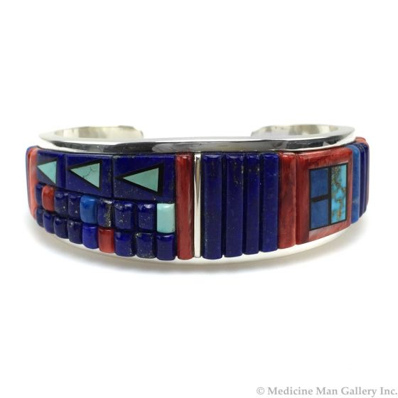 Timmy Yazzie - Navajo/San Felipe Contemporary Multi-Stone Inlay and Sterling Silver Bracelet, size 6.375 (J13176)