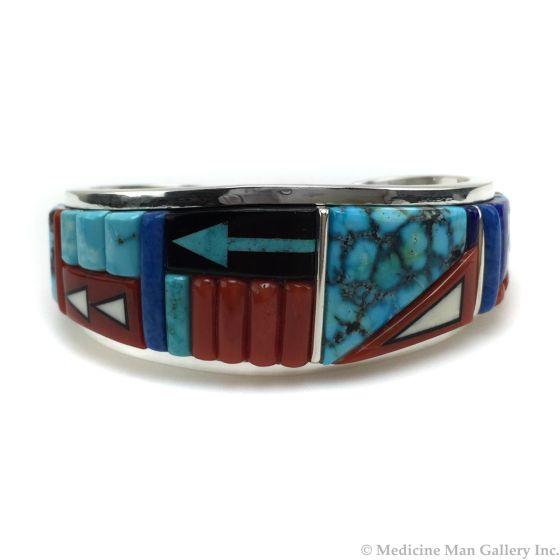 Timmy Yazzie - Navajo/San Felipe Contemporary Multi-Stone Inlay and Sterling Silver Bracelet, size 5.75 (J13177)