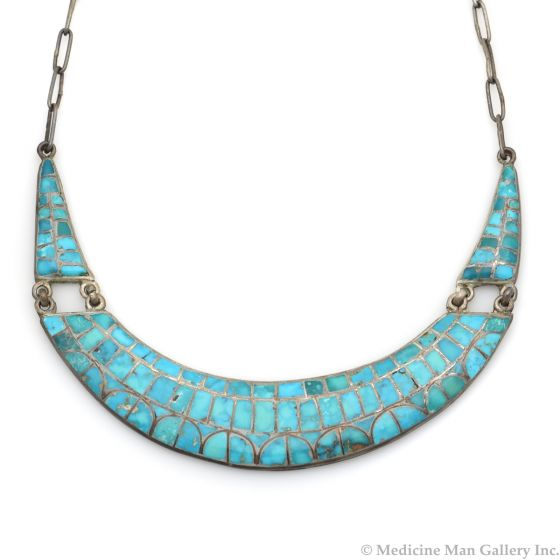 """Zuni Turquoise Channel Inlay and Silver Necklace c. 1940-50s, 16"""" length (J13181)"""