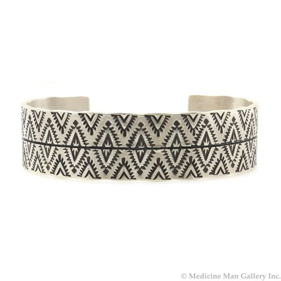 Roland Begay - Navajo Contemporary Sterling Silver Bracelet with Stamped Design, size 6.5 (J13215)