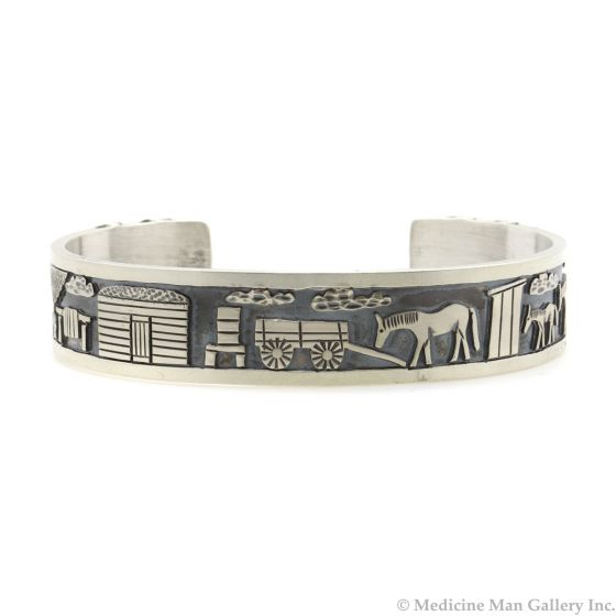 Roland Begay - Navajo Contemporary Sterling Silver Storyteller Bracelet with Stamped Design, size 6.5 (J13218)