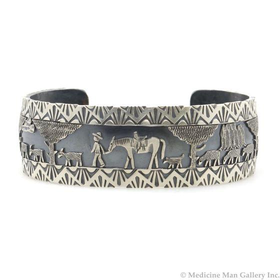 Roland Begay - Navajo Contemporary Sterling Silver Storyteller Bracelet with Stamped Design, size 6.375 (J13220)