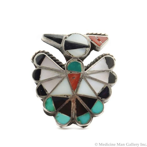 Zuni Multi-Stone Channel Inlay and Silver Ring with Thunderbird Design c. 1960s, size 4 (J13238)