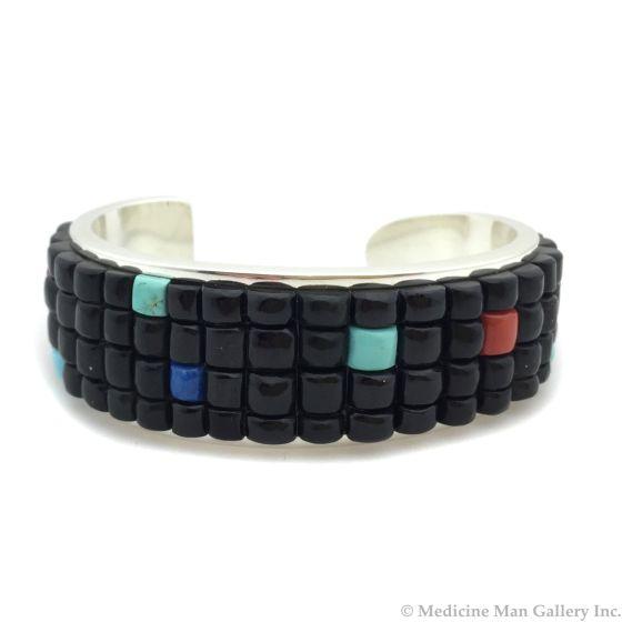 Timmy Yazzie - Navajo/San Felipe Contemporary Multi-Stone and Sterling Silver Indian Corn Bracelet, size 6.75 (J13246)