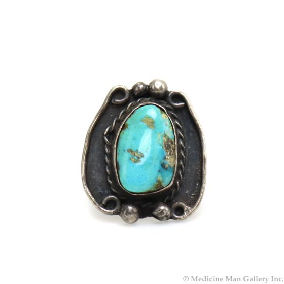 Navajo Turquoise and Silver Ring c. 1950s, size 5.5 (J13278)