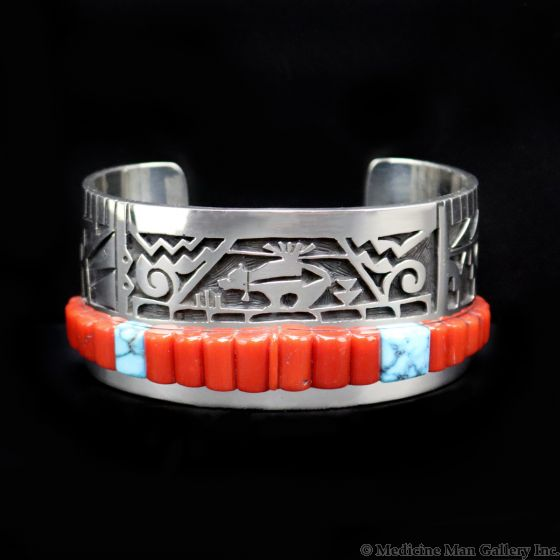 Timmy Yazzie - Navajo/San Felipe Contemporary Turquoise, Coral, and Sterling Silver Overlay Bracelet with Heartline Bear Design, size 7 (J13296)