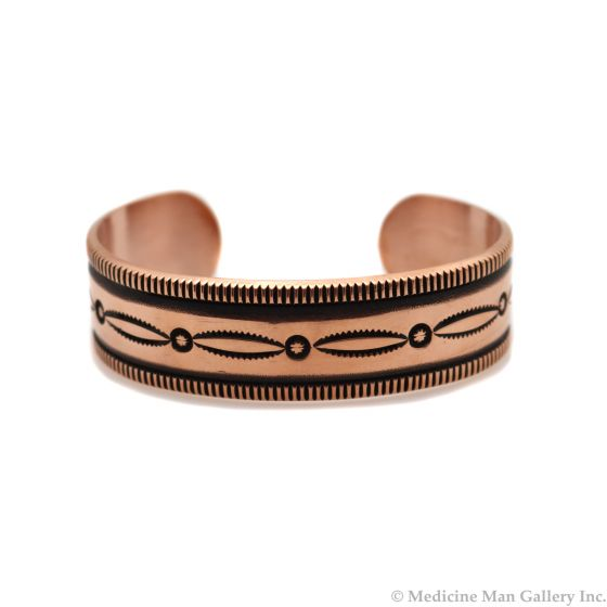 Kee Nataani - Navajo Contemporary Copper Bracelet with Stamped Design, size 7.375 (J13317)