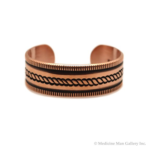 Kee Nataani - Navajo Contemporary Copper Bracelet with Stamped Design, size 6.25 (J13318)