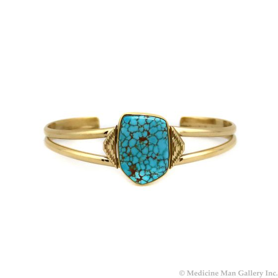 Mark Sublette Collection - Featuring Sam Patania #8 Turquoise and 18K Gold Bracelet, size 6.75 (J13332)