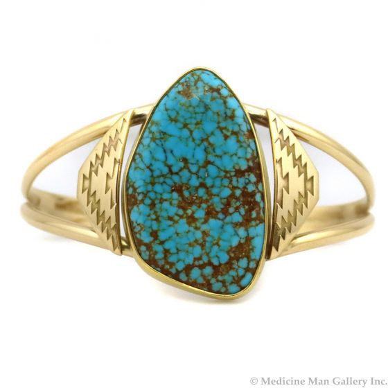 Mark Sublette Collection - Featuring Sam Patania - Number 8 Turquoise and 18K Gold Bracelet, size 6.75 (J13333)
