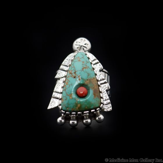 Roy Talahaftewa - Hopi Contemporary Turquoise, Coral, and Sterling Silver Tufacast Overlay Ring, size 9 (J13337)