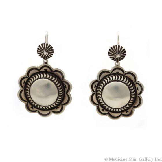"Kee Nataani - Navajo Contemporary Silver Hook Earrings, 2"" x 1.25"" (J13367)"