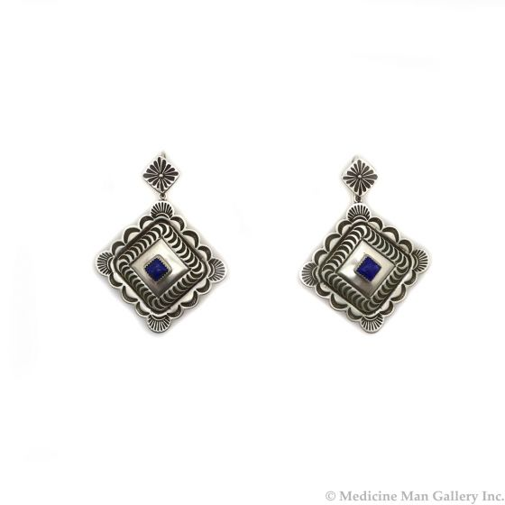 """Kee Nataani - Navajo Contemporary Lapis Lazuli and Silver Post Earrings with Stamped Design, 2.25"""" x 1.625"""" (J13373)"""