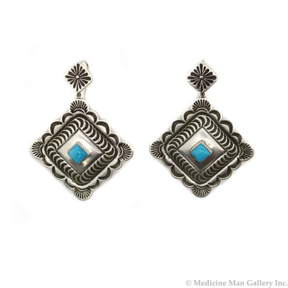 "Kee Nataani - Navajo Contemporary Turquoise and Silver Post Earrings with Stamped Design, 2.25"" x 1.625"" (J13374)"