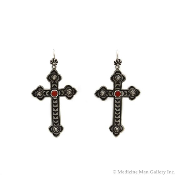 """Kee Nataani - Navajo Contemporary Coral and Silver Hook Earrings with Cross Design, 2"""" x 1.125"""" (J13376)"""