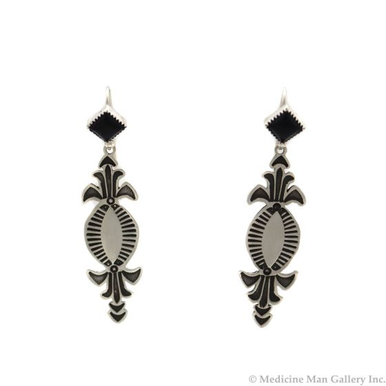 """Kee Nataani - Navajo Contemporary Onyx and Silver Hook Earrings with Stamped Design, 2"""" x 0.5"""" (J13398)"""