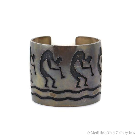 Steven Sockyma - Hopicrafts Silver Overlay Bracelet c. 1960-70s, size 6.75 (J13434)