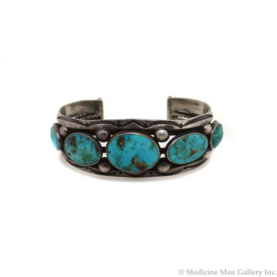 Navajo Turquoise and Ingot Silver Bracelet with Stamped Design c. 1920-30s, size 6.75 (J13454-CO)